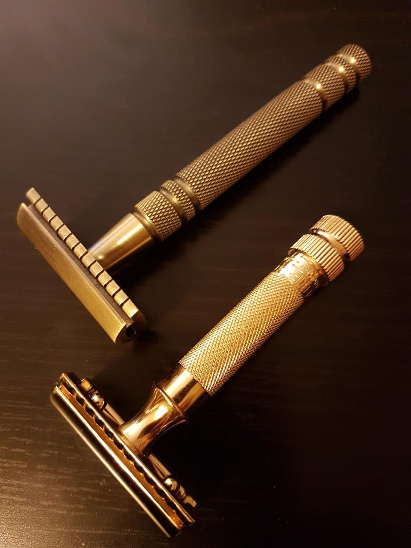Quels sont les rasoirs vintage ou actuels avec une finition dorée/plaquée or/cuivre/laiton ? 20180510