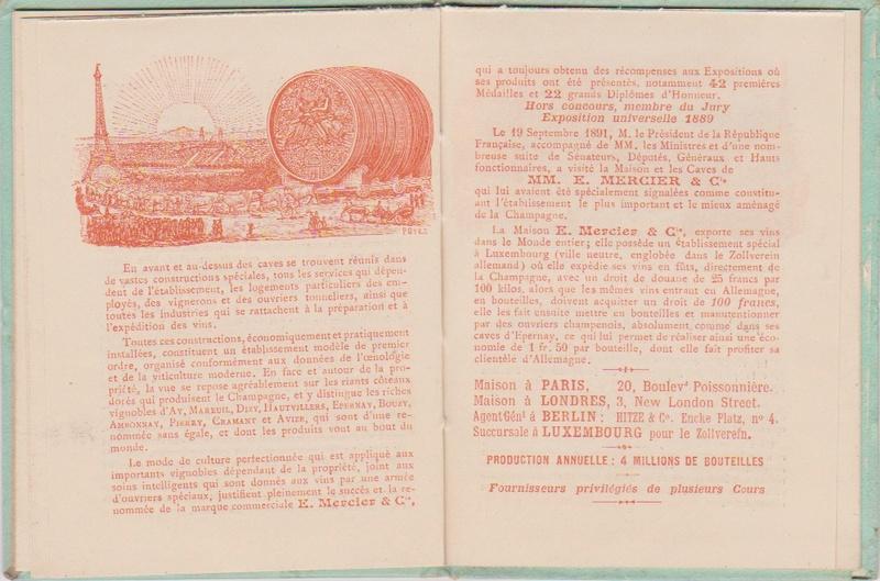 Champagne MERCIER - Guide offert aux visiteurs de l'Exposition de 1900 à Paris 1111