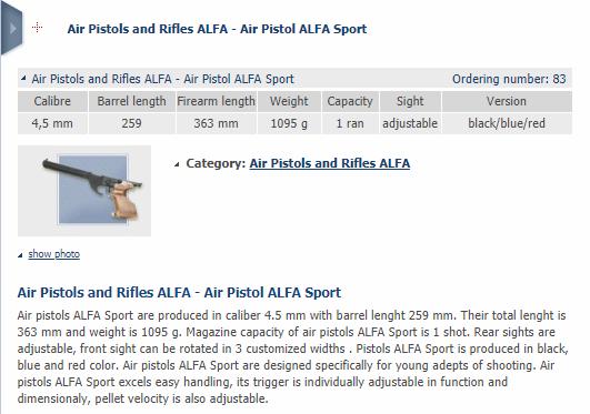 Infos sur Alfa proj match Firesh18