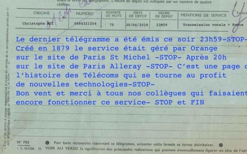 En France, le dernier télégramme de l'histoire a été envoyé lundi soir Last10