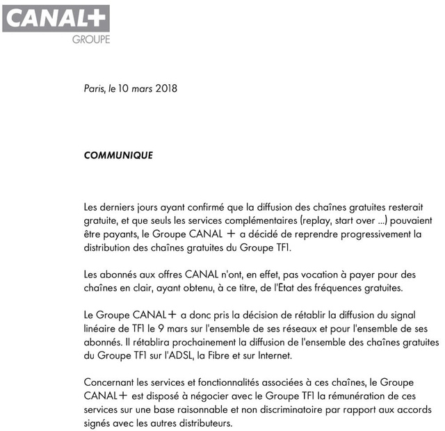Canal+ a coupé le signal des chaînes de TF1 Macgpi12