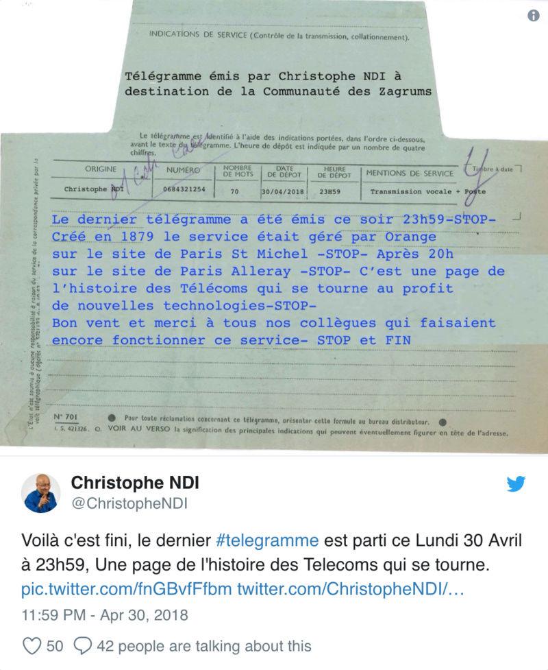 En France, le dernier télégramme de l'histoire a été envoyé lundi soir Sans_t15