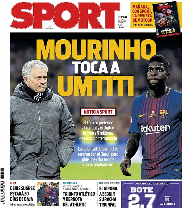 Manchester United locked in with Samuel Umtiti's agent 4a073a10