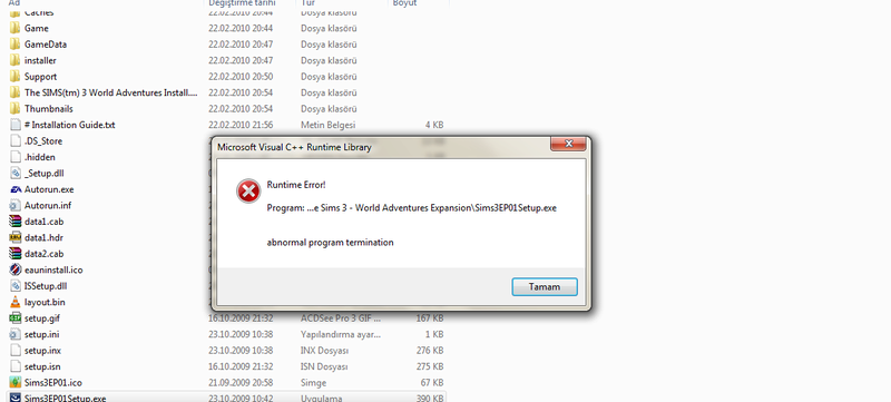 Runtime Error when installing EP. Nonl8110