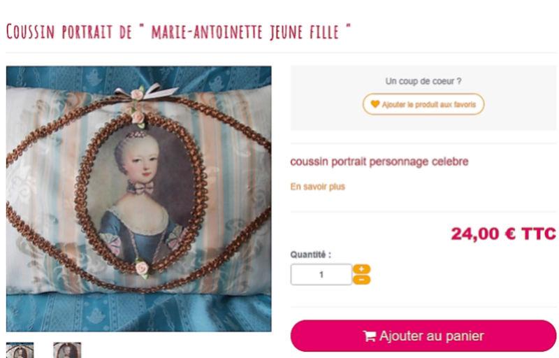 """Coussin """"Marie-Antoinette à la rose"""" Snymek61"""