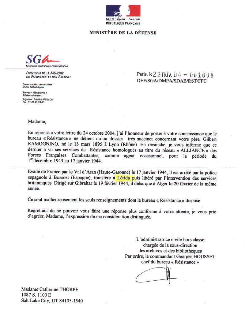 recherche sur Monsieur RAMOGNINO 1e   groupe des commando de France  Minist10