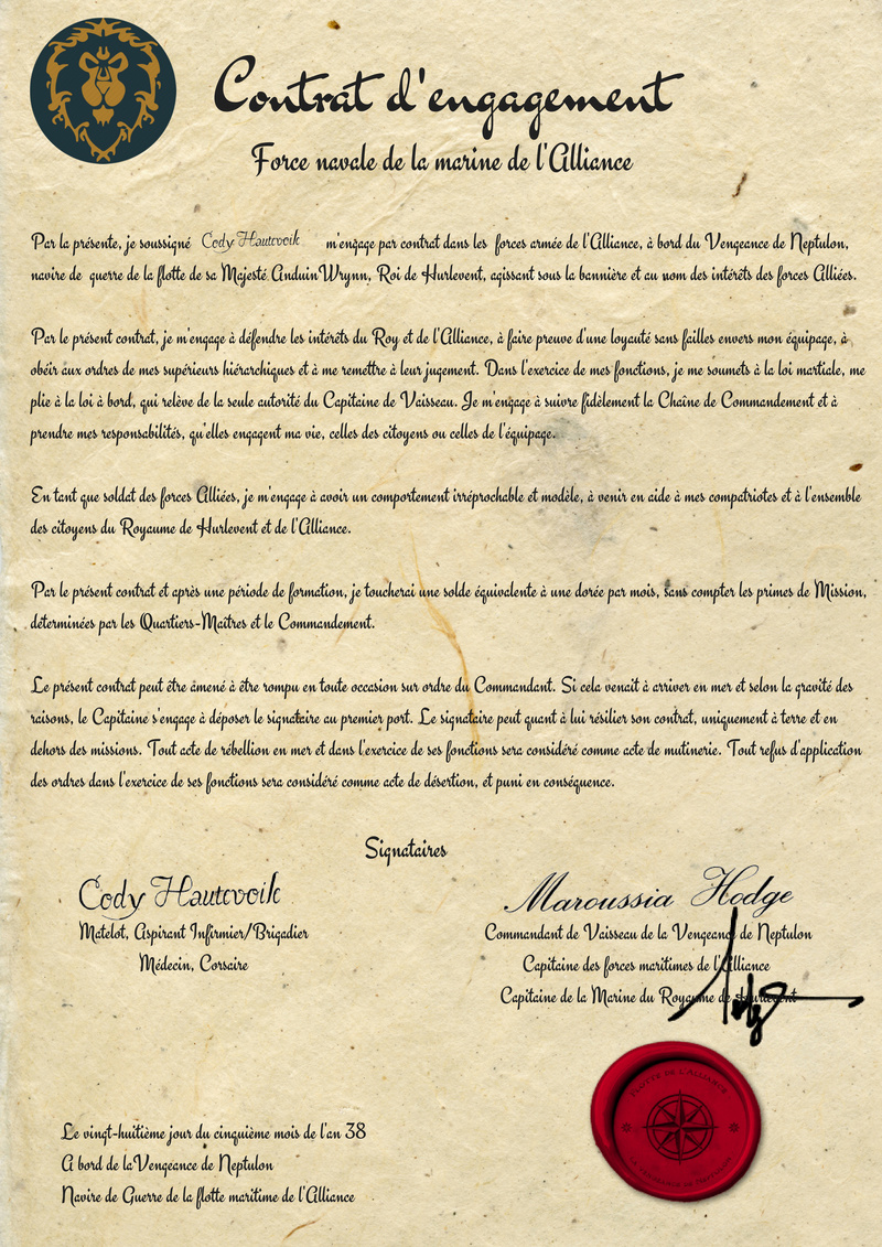 Contrat d'engagement de Cody Haute-Voile Savonn24