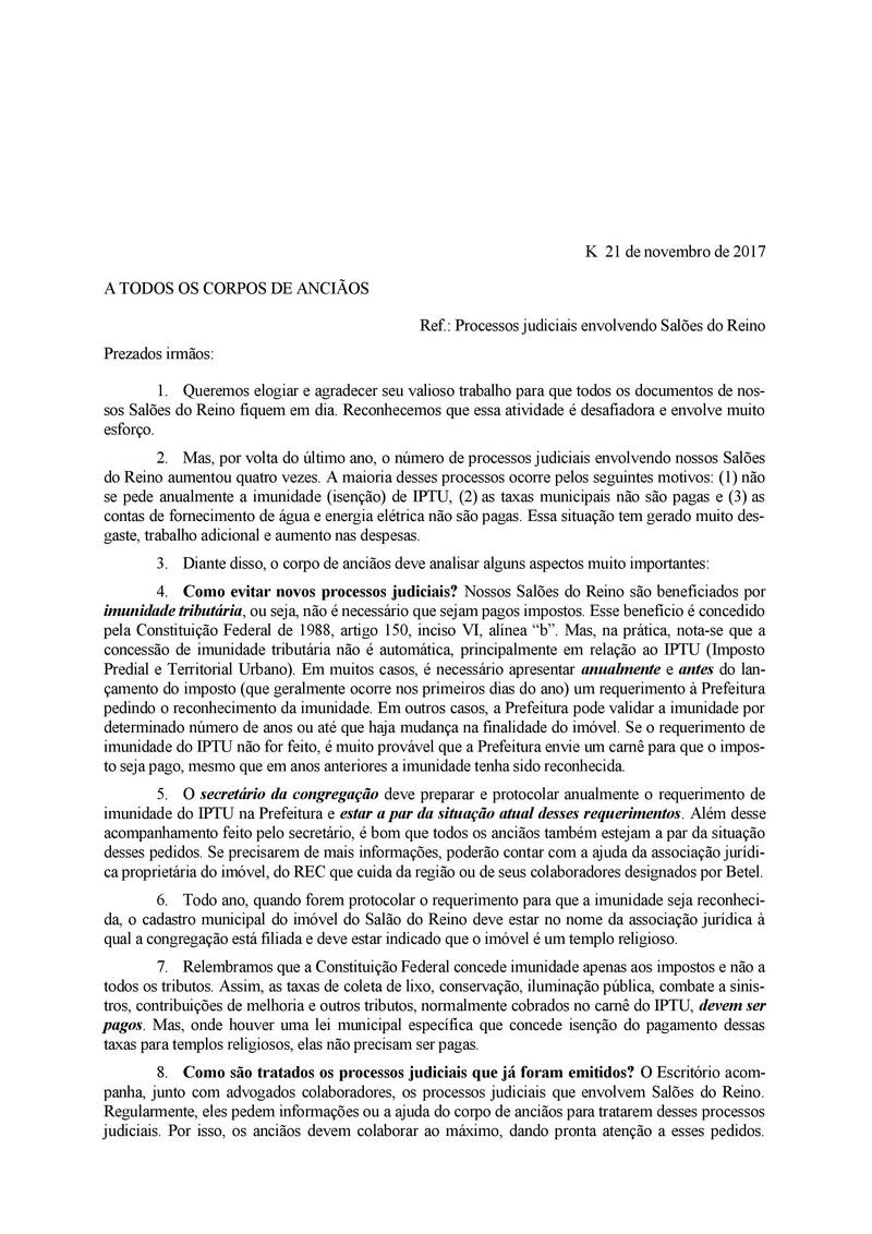 Cartas - ALTO ÍNDICE DE PROCESSOS JUDICIAIS EM 2017 000111
