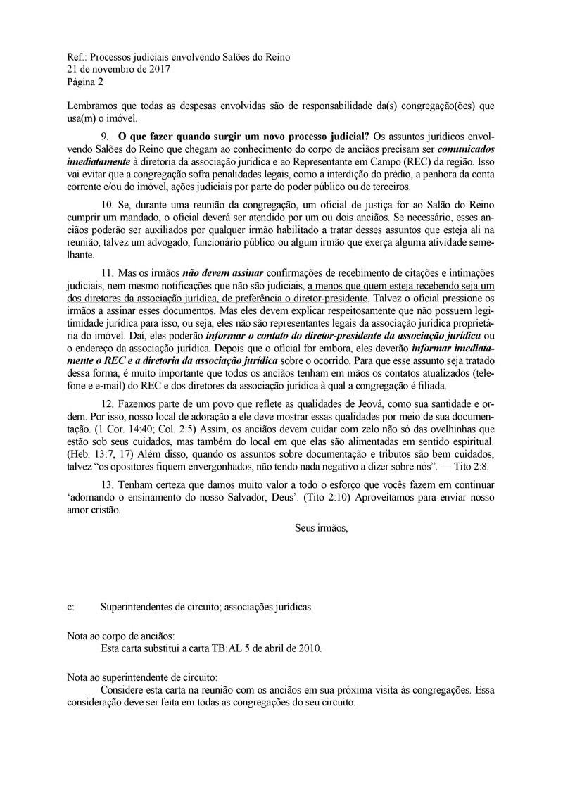Cartas - ALTO ÍNDICE DE PROCESSOS JUDICIAIS EM 2017 000211