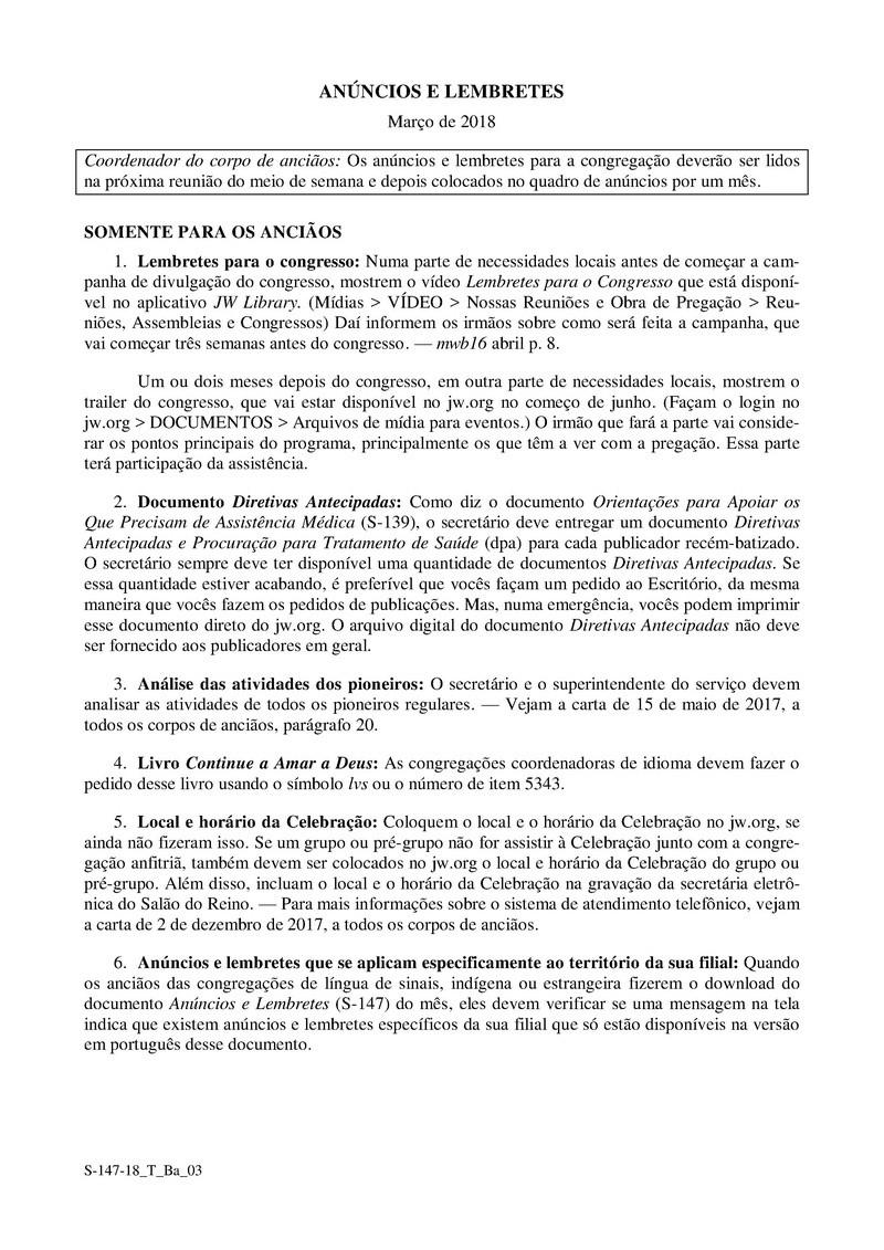 ANUNCIOS - LEMBRETES (MARÇO 2008) S-147-10