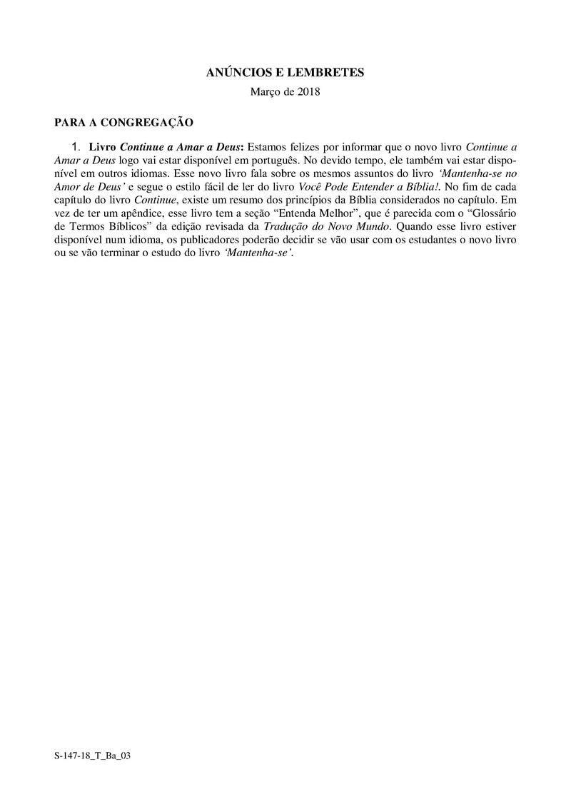 ANUNCIOS - LEMBRETES (MARÇO 2008) S-147-12