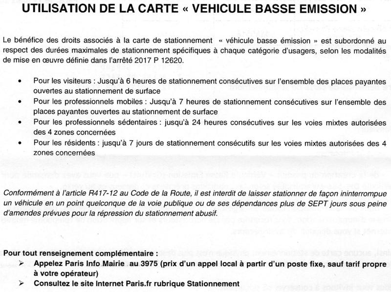 """Carte de stationnement 6 heures à Paris """"carte véhicule basse émission"""" Img01611"""