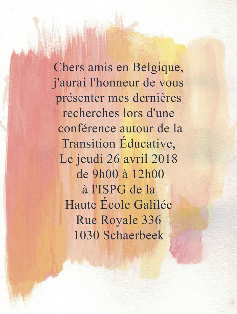 """Evènement à venir : """"Transition Educative en Belgique, Etat des lieux"""" Finali11"""