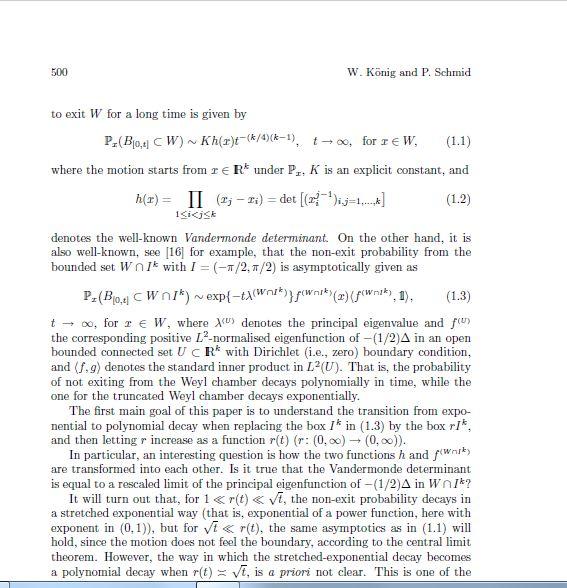 Задача для диплома Берлин, 3 недели. Brownian Motion in a Truncated Weyl Chamber (случайные блуждания в усеченной камере Вейля). 210