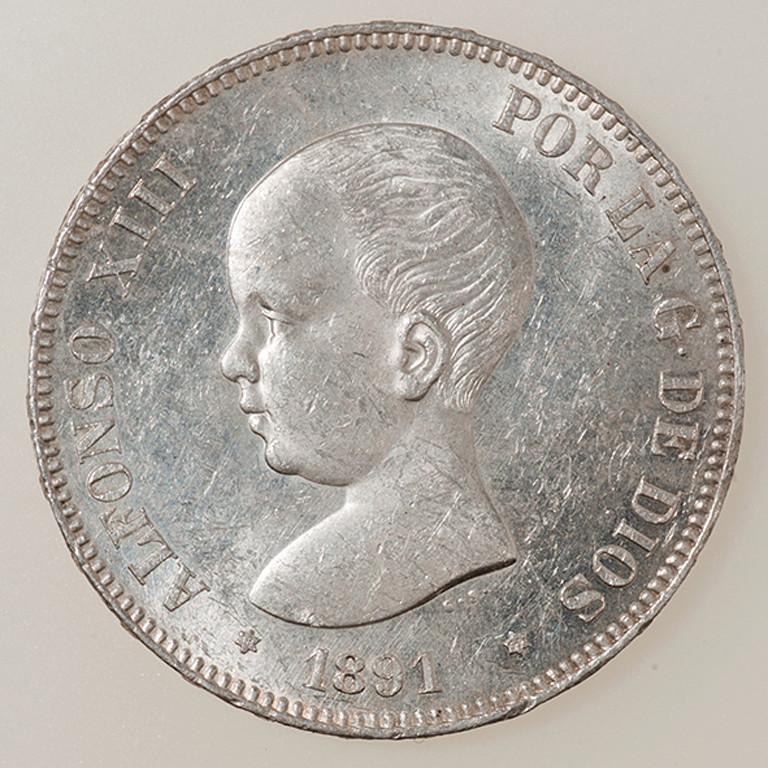 5 pesetas 1891. Alfonso XIII PGM _pas4310
