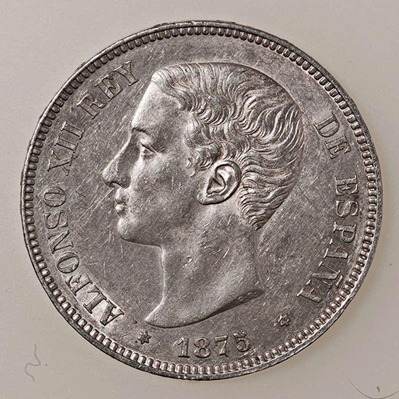 5 pesetas 1875. Alfonso XII  _pas4321
