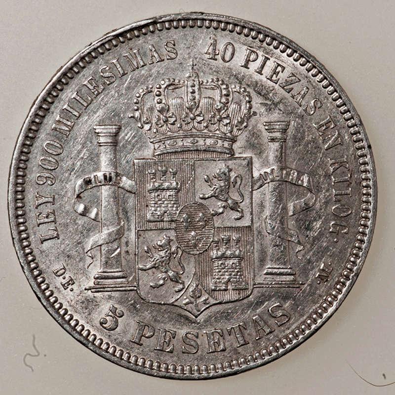 5 pesetas 1875. Alfonso XII  _pas4322