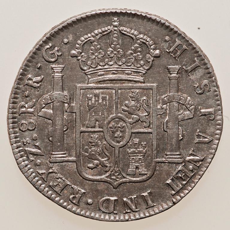 8 reales 1822. Fernando VII. Zacatecas _pas4323