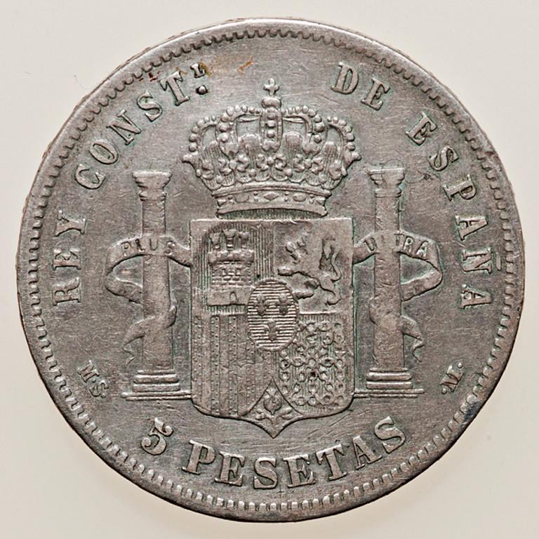 5 pesetas 1888. Alfonso XIII. MSM _pas4331