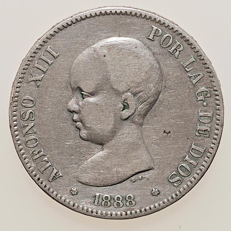 5 pesetas 1888. Alfonso XIII. MSM _pas4332
