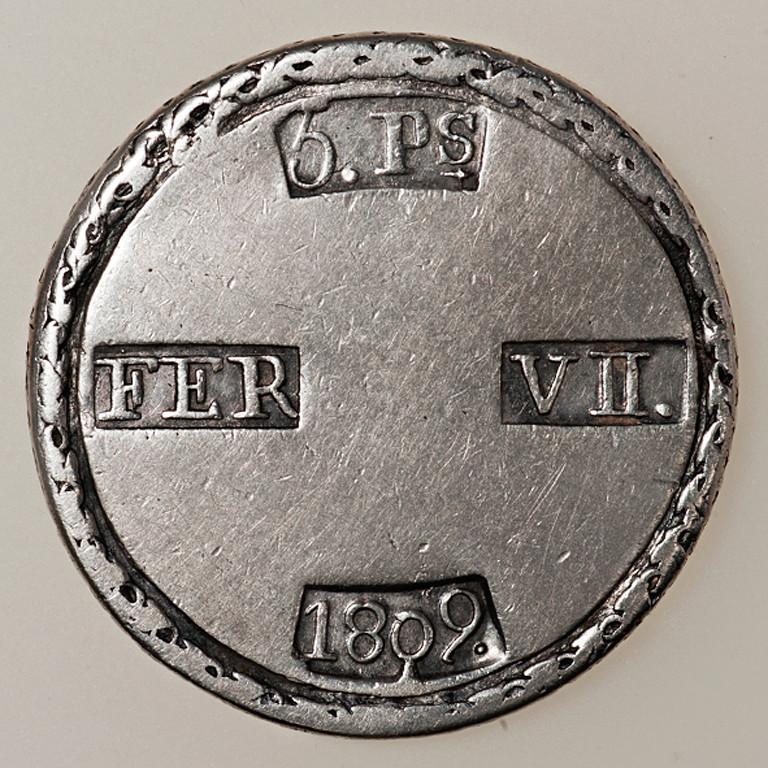 5 pesetas 1809. Fernando VII. Tarragona. Dedicada a Gobierno Provisional. _pas4338