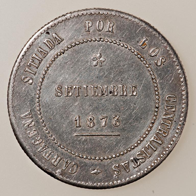 5 pesetas 1873. Revolución Cantonal de Cartagena. Reverso no coincidente _pas4423