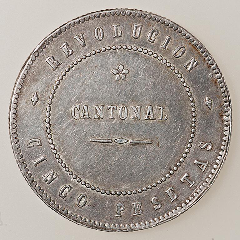 5 pesetas 1873. Revolución Cantonal de Cartagena. Reverso no coincidente _pas4424