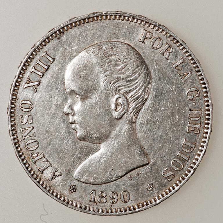5 pesetas 1890. Alfonso XIII. P.G. M. _pas4426