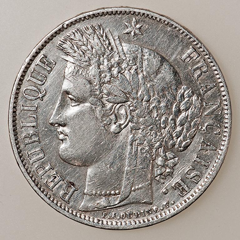 5 francos II República Francesa Tipo Cérès 1851 _pas4521