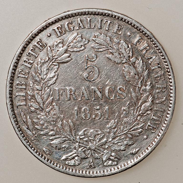 5 francos II República Francesa Tipo Cérès 1851 _pas4522