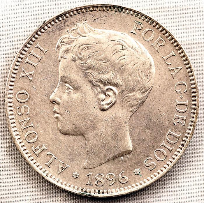 Duda 5 pesetas Alfonso XIII 1896  18*95 Alfons11