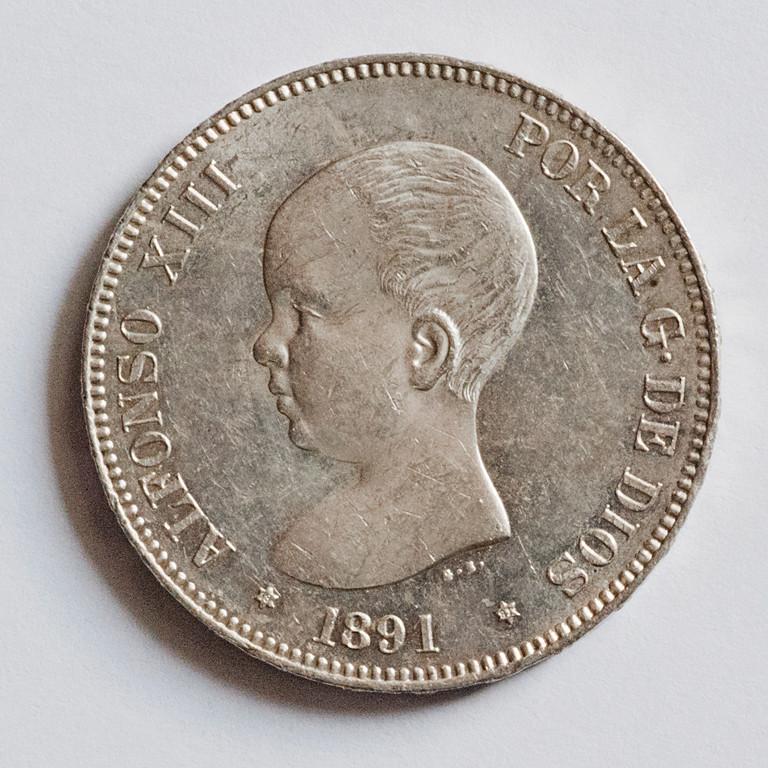 5 pesetas 1891. Alfonso XIII PGM Alfxii10