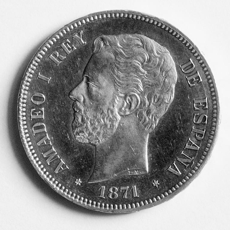 5 pesetas 1871 (*18-71). Amadeo I Ami71a14