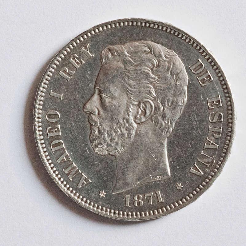 5 pesetas 1871 (*18-71). Amadeo I Ami71a15