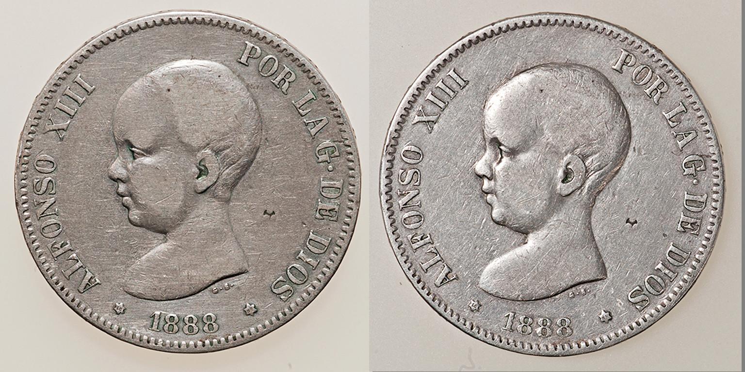5 pesetas 1888. Alfonso XIII. MSM Combo110