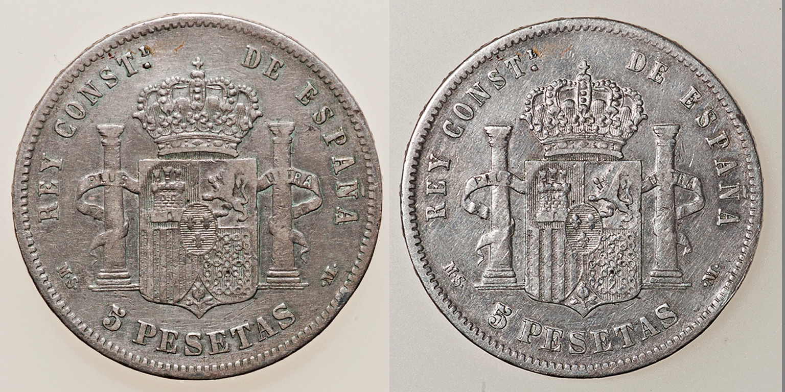 5 pesetas 1888. Alfonso XIII. MSM Combo210