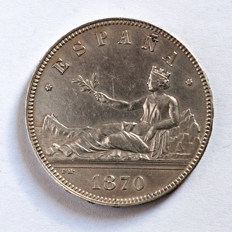 5 pesetas 1870. Gobierno Provisional  Dgpa10