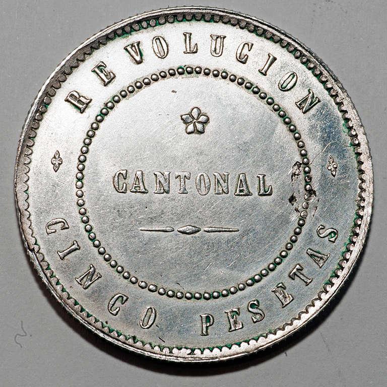 5 pesetas 1873. Revolución Cantonal de Cartagena  Rcr10