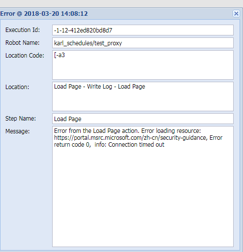 """issue """"error from the load page action"""" in Management console, but run it in design studio is ok. Tp10"""