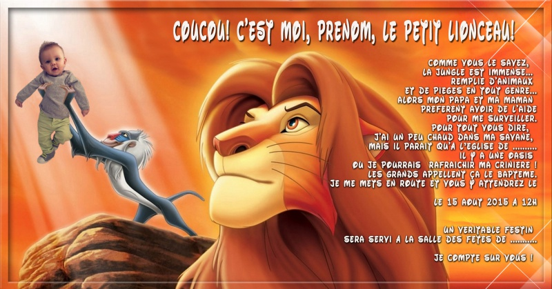 Faire part bapteme le roi lion  46549711