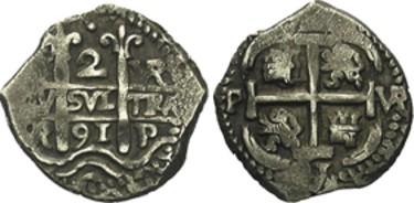 2 Reales macuquinos de Carlos II de Potosí, 1697. 2_real10