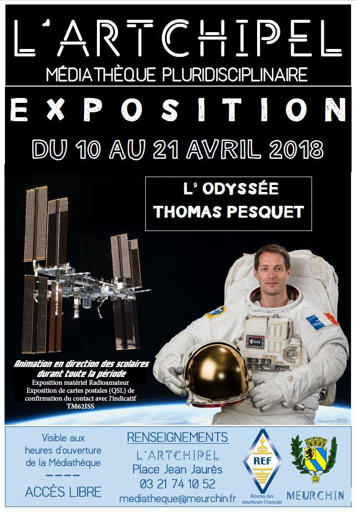 Exposition L'odyssée de Thomas PESQUET FX0ISS du 10 au 21/04/18  Affich14