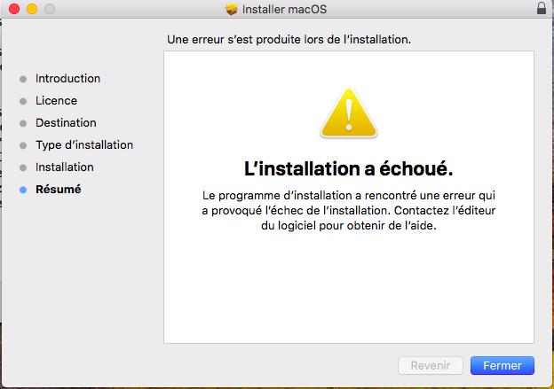 MacOS n'a pas pu être installé Captur14