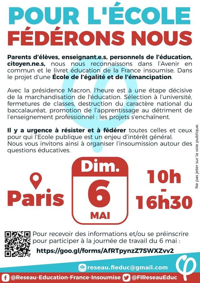 dimanche 6 mai: Pour l'école Fédérons nous: Journée de travail à Paris  Dzddfp10