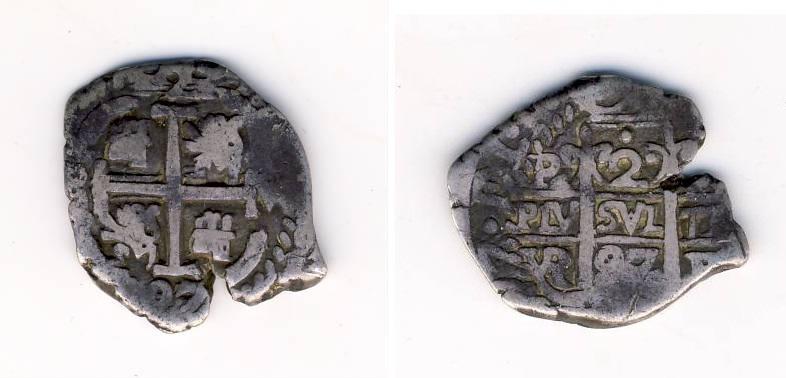2 Reales macuquinos de Carlos II de Potosí, 1697. M11