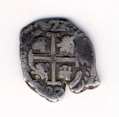 2 Reales macuquinos de Carlos II de Potosí, 1697. Macuqu15