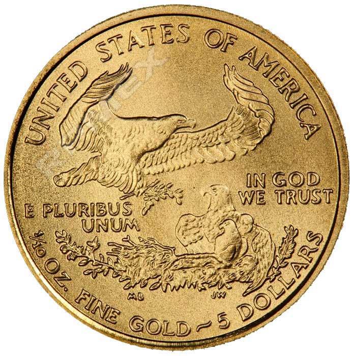 5 dolares, 1/10 onzas de oro de 22k. Estados Unidos de América. 2006. 391a11