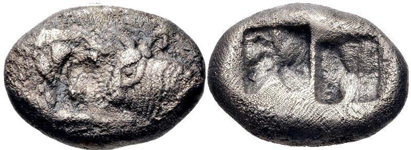 AR 1/2 estátera. Reyes de Lidia, Tiempos de Ciro I–Darío I. Ca. 550/39-520 a.C. 41212