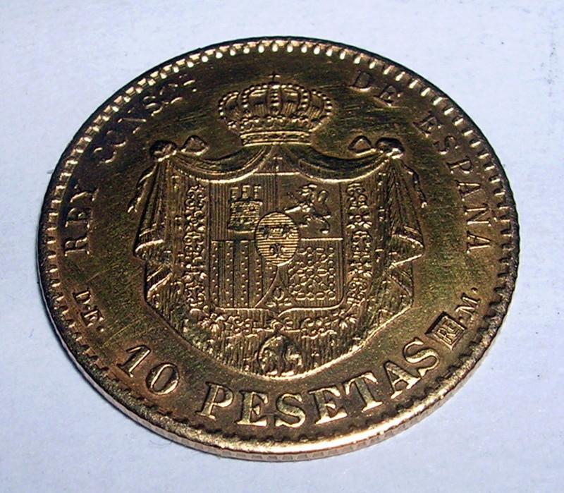 10 Pesetas Alfonso XII 1874 estrella 1962 oro Falsa acuñacion ? Dscn6115