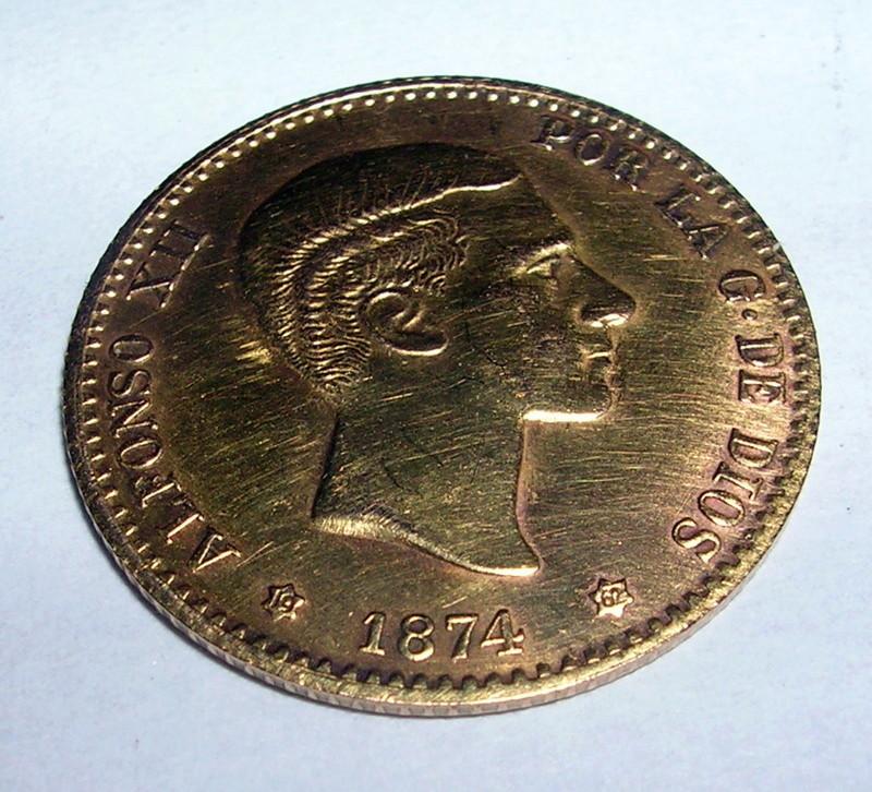 10 Pesetas Alfonso XII 1874 estrella 1962 oro Falsa acuñacion ? Dscn6116